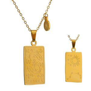 NEW 18K Gold Plated Pisces Sign Zodiac Tarot Card Square Pendant Ne…